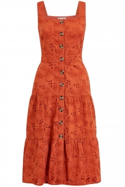 Broderie Anglaise Cotton Sun-Dress in Burnt Orange