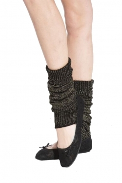 Lurex legwarmers black/gold