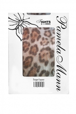 Furry Leopard Printed Tights multi