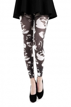 Buried Alive Printed Footless Tights black