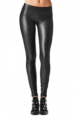 Leather Look Leggings black